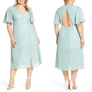 Leith flutter sleeve midi dress cutout back v-neck